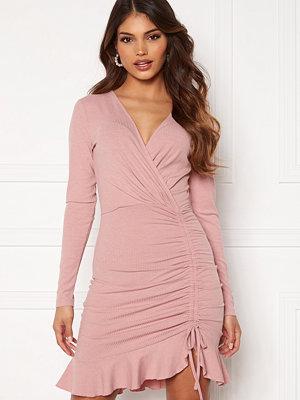 Chiara Forthi Sheila flounce rib dress Dusty pink