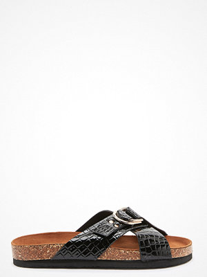 Only Maxi PU Croc Crossover Sandal Black