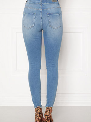 Only Blush Life Mid Raw Jeans Light Blue Denim