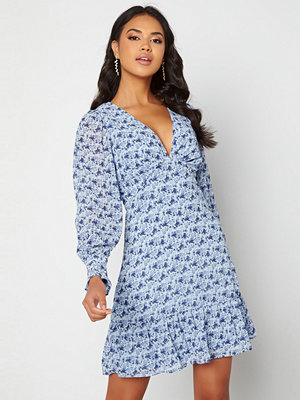 Vila Valeria V-Neck Dress Ashley Blue Flowers
