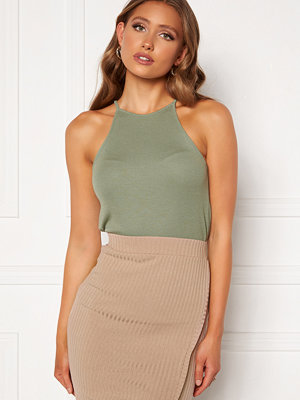 Bubbleroom Ruthie high neck top Dusty green