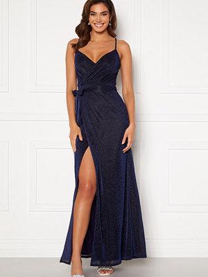 Goddiva Glitter Wrap Front Maxi Dress Navy