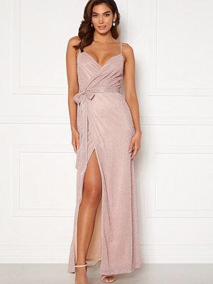 Goddiva Glitter Wrap Front Maxi Dress Blush