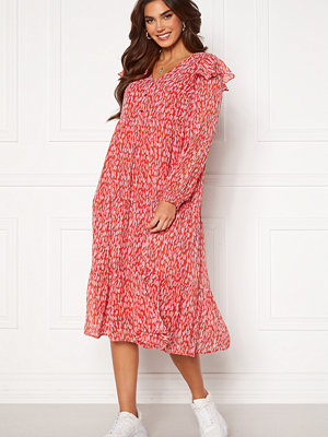 Pieces Rio LS Midi Dress Red Clay AOP