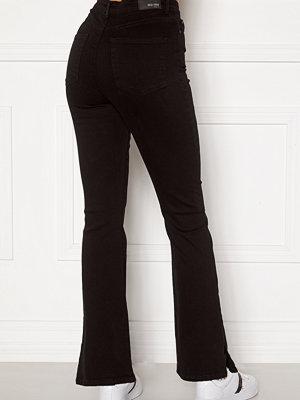 Bubbleroom Wendy side slit jeans Black denim