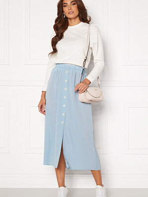 Only Nova Lux Button Skirt Solid Blue Fog