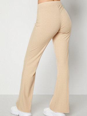 Bubbleroom byxor Cozensa rib trousers Beige melange
