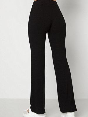 Bubbleroom svarta byxor Cozensa rib trousers Black