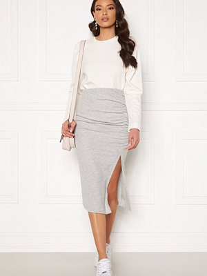 Only Nella Slit Skirt Light Grey Melange