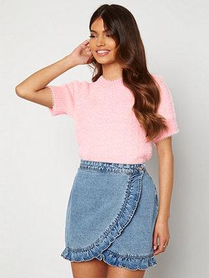 Blue Vanilla Fluffy Knit Top Pink