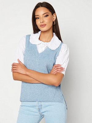 Vila Ril Knit Rib V-Neck Vest Ashley Blue