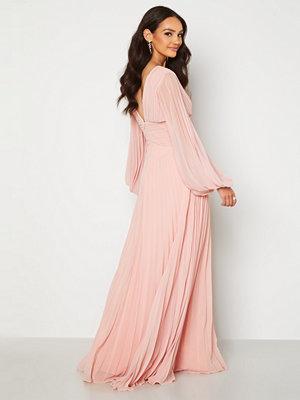 Goddiva Pleated Balloon Sleeve Maxi Dress Blush