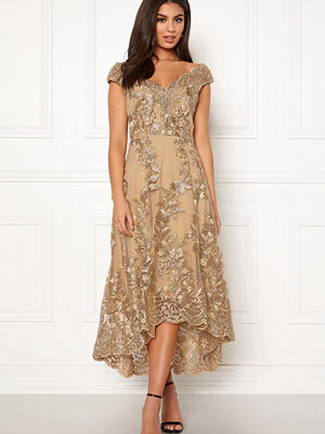 Goddiva Embroidered Lace Dress Gold