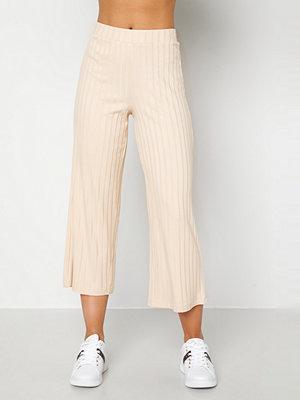 Happy Holly omönstrade byxor Emmy rib wide pants Light beige