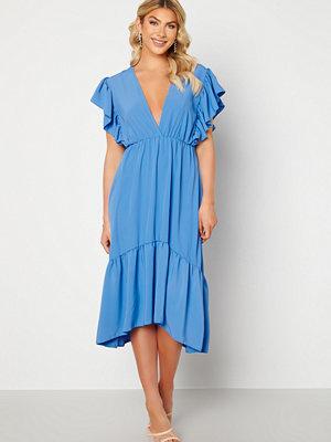 John Zack Frill Sleeve V Neck Midaxi Dress Blue