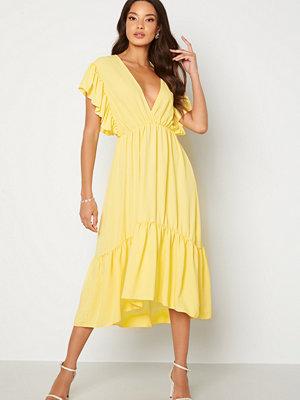 John Zack Frill Sleeve V Neck Midaxi Dress Lemon