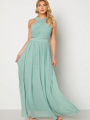 Goddiva Cross Front Chiffon Maxi Dress Sage Green