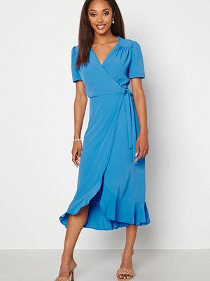 John Zack Short Sleeve Wrap Dress Dusty Blue
