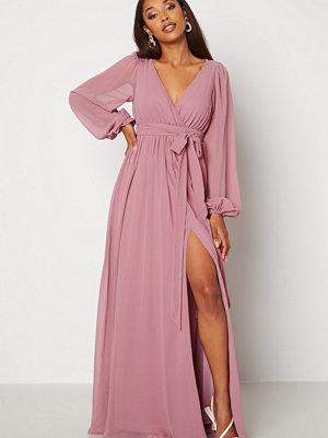 Goddiva Long Sleeve Chiffon Dress Dusty Lavendel