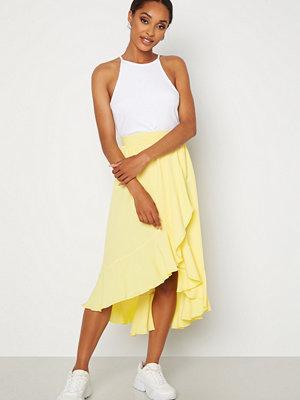 John Zack Wrap Frill Midi Skirt Lemon