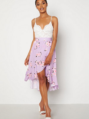 John Zack Wrap Frill Midi Skirt Printed Lilac Print