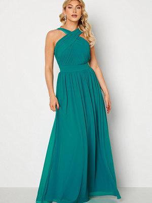 Goddiva Cross Front Chiffon Maxi Dress Sapphire