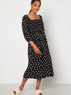 Vero Moda Ginna 3/4 Smock Square Dress Black AOP Medium Whi