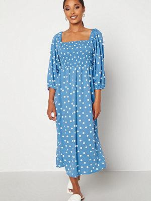 Vero Moda Ginna 3/4 Smock Square Dress Azure Blue AOP White