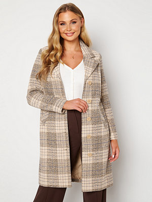 Happy Holly Corinne checked coat Beige / Checked