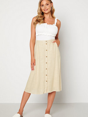 Pieces Timey HW Midi Skirt Almond Buff