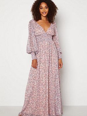 Goddiva Ditsy Long Sleeve Shirred Maxi Dress Blush