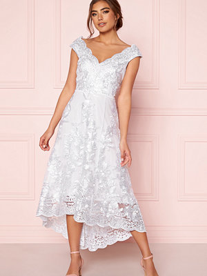 Goddiva Embroidered Lace Dress White