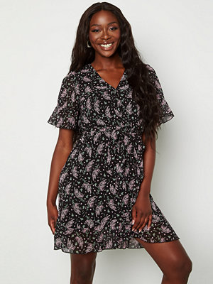Sisters Point New Greto Dress 010 Blk/Pink Flower