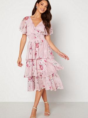 Goddiva Floral Flutter Tiered Midi Dress Blush