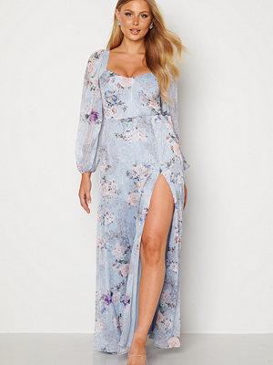 Goddiva Floral Long Sleeve Maxi Dress Blue