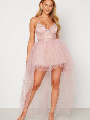 Goddiva Lace Bodice High Low Dress Nude