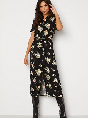 Vero Moda Simply Easy SS Long Shirt Dress Black AOP: Sandy