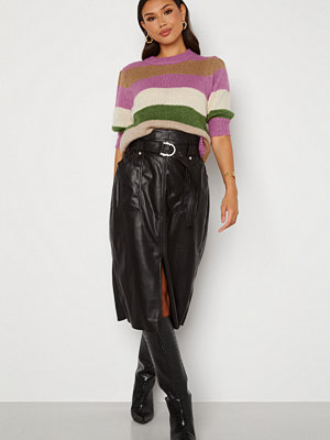 Only Alba Faux Leather Long Skirt Black