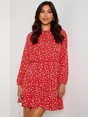 Ax Paris Ditsy Print Pleat Dress Red