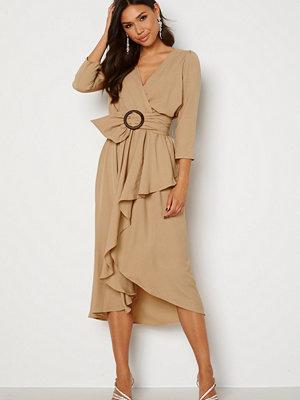 Goddiva Wrap High Low Belted Dress Beige