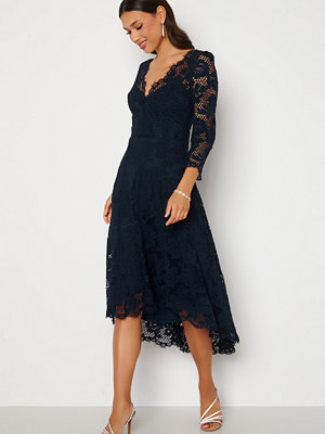 Goddiva Lace High Low Midi Dress Navy