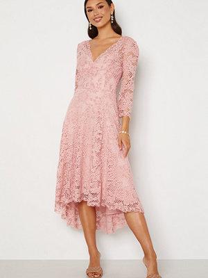 Goddiva Lace High Low Midi Dress Blush