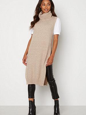 Vila Ril Long S/L Knit Vest Natural Melange