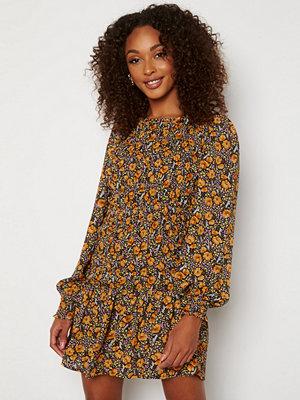 Jdy Drew Life L/S Dress Black AOP Tangerine