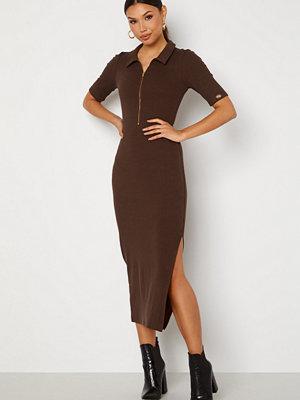 Chiara Forthi Dalila rib dress Dark brown