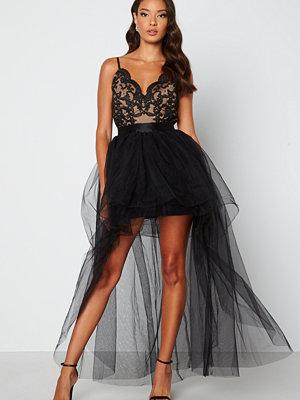 Goddiva Lace Bodice High Low Dress Black
