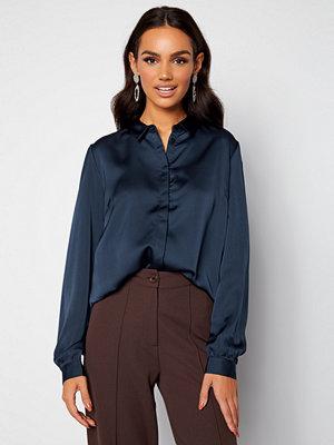 Vila Ellette Satin L/S Shirt Navy Blazer