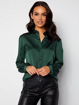 Vila Ellette Satin L/S Shirt Darkest Spruce