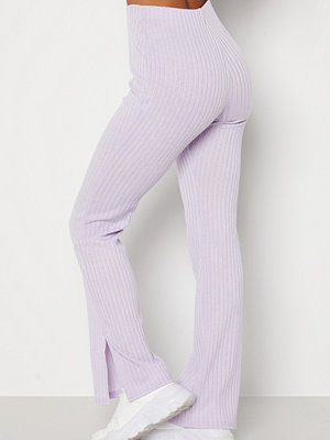 Bubbleroom byxor Lesley rib trousers Light lilac