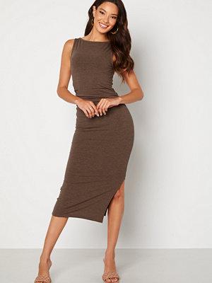 Bubbleroom Minea drapy sleeveless dress Brown melange